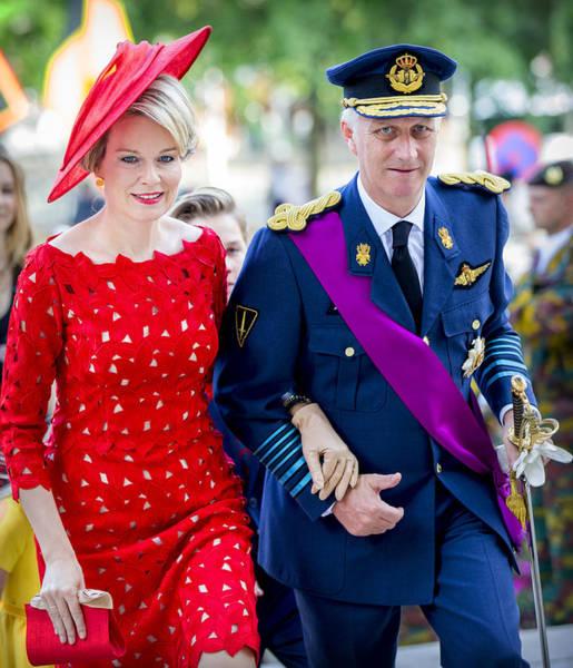 Belgian Royals Attend National Day Art Print by Patrick van Katwijk