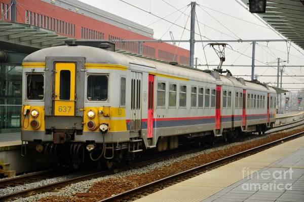 Belgium Railways Commuter Train At Brugge Railway Station Art Print