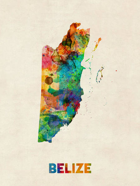 South America Digital Art - Belize Watercolor Map by Michael Tompsett
