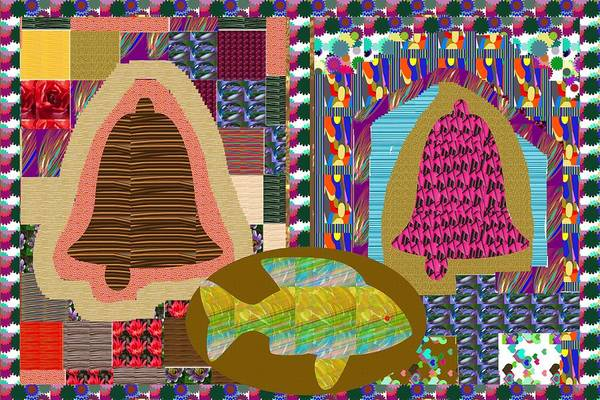 Promotion Mixed Media - Bell Gong Fish Temple Church Holistic Spiritual Collage Patchwork Artistic Colorful Navinjoshi Creat by Navin Joshi