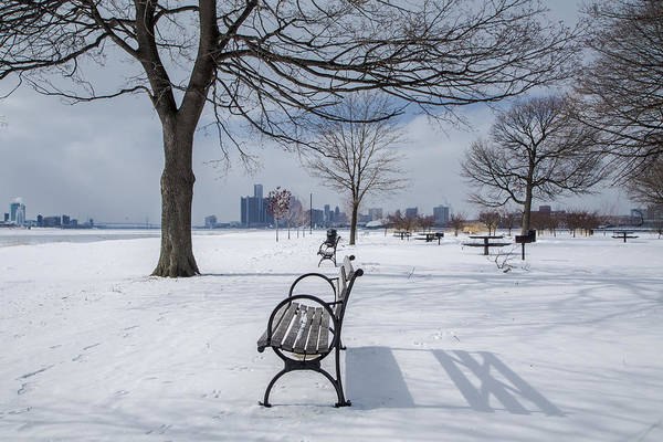 Belle Isle Photograph - Belle Isle Bench With Detroit In Background by John McGraw