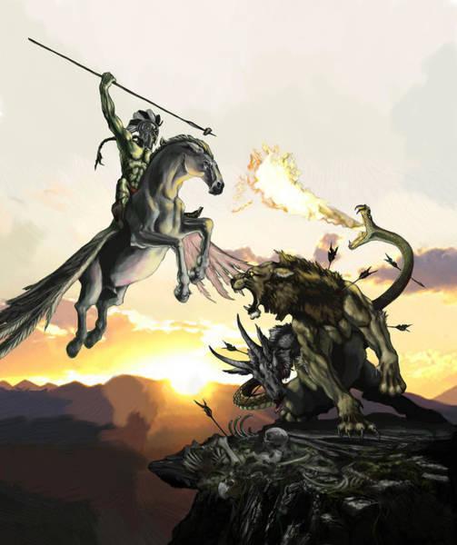 Mythology Painting - Bellephron Slays Chimera by Matt Kedzierski