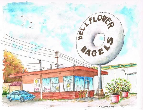 Googie Wall Art - Painting - Bellflower Bagels In Bellflower, California by Carlos G Groppa
