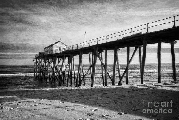 Photograph - Belmar Fishing Pier In Black And White by Debra Fedchin