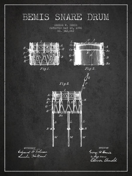 Country Living Digital Art - Bemis Snare Drum Patent Drawing From 1886 - Dark by Aged Pixel