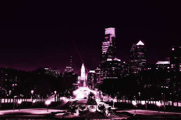Philadelphia Phillies Digital Art - Ben Franklin Parkway In Black And White by Bill Cannon