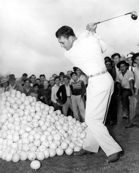 Photograph - Ben Hogan Hits Grapefruits by Underwood Archives