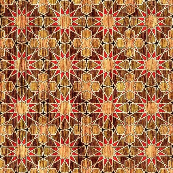 Mosque Digital Art - Ben Yusuf Madrasa Geometric Pattern Wood by Hakon Soreide