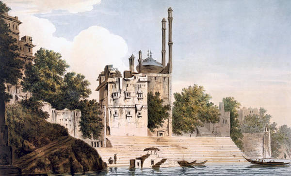 River Bank Drawing - Benares On The Ganges by William Hodges