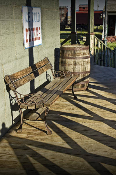 Photograph - Bench And Barrel In 1880 Town by Randall Nyhof