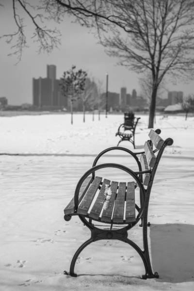 Belle Isle Photograph - Bench At Belle Isle With Detroit I by John McGraw