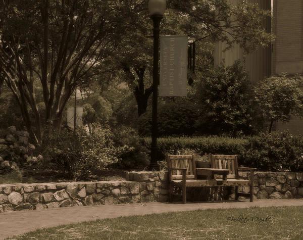 Photograph - Bench At University Baptist Church by Paulette B Wright