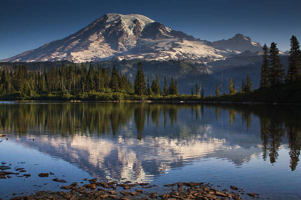 Mount Rainier Photograph - Bench Lake Sunrise by Mark Kiver