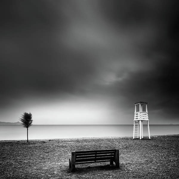 Bench On The Beach Art Print