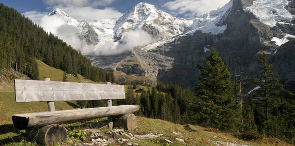 Wall Art - Photograph - Bench With Mt Eiger And Mt Monch by Panoramic Images