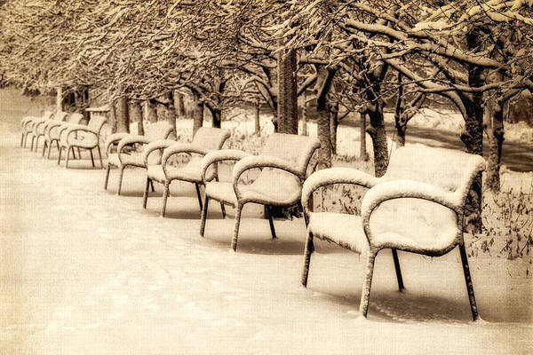 Photograph - Benches At Cancer Survivors Plaza - Downtown Chicago - Sepia  by Photography  By Sai