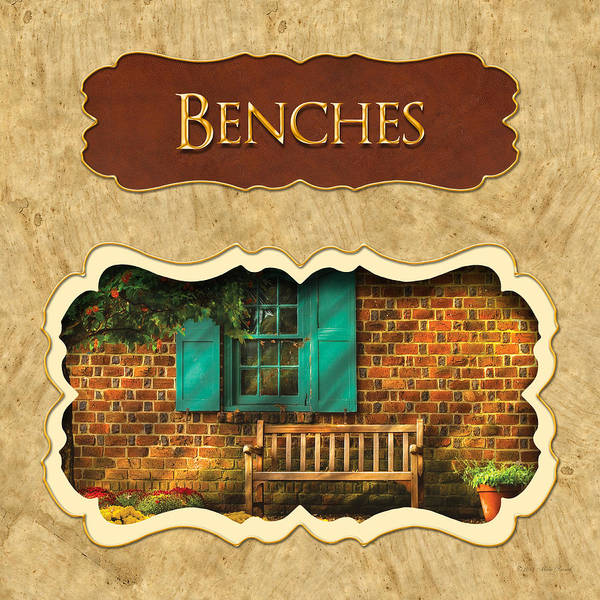 Photograph - Benches Button by Mike Savad