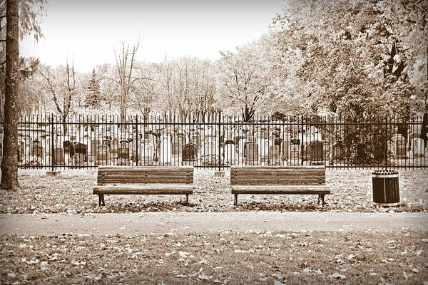 Wall Art - Photograph - Benches By The Cemetery In Sepia by Valentino Visentini