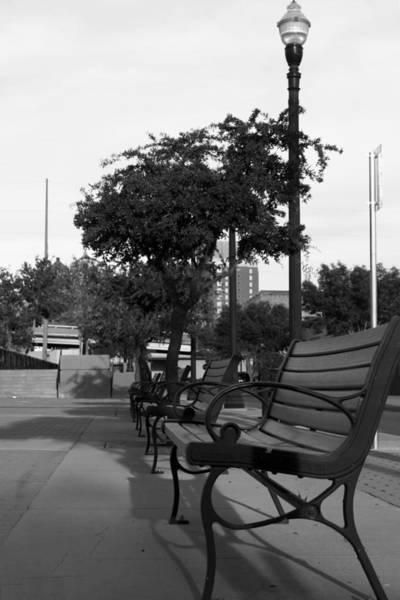 Downtown El Paso Photograph - Benches by Mark Bacon