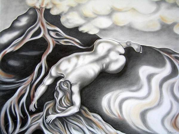 Lava Drawing - Beneath Her Spill by Jaya C Dupuis