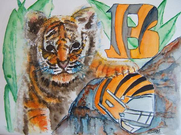 Wall Art - Painting - Bengals Football by Elaine Duras