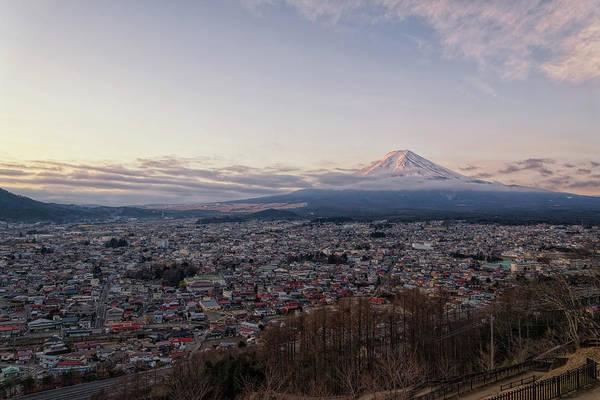 Fence Photograph - Beni Fuji From Fujiyoshida by Yuga Kurita