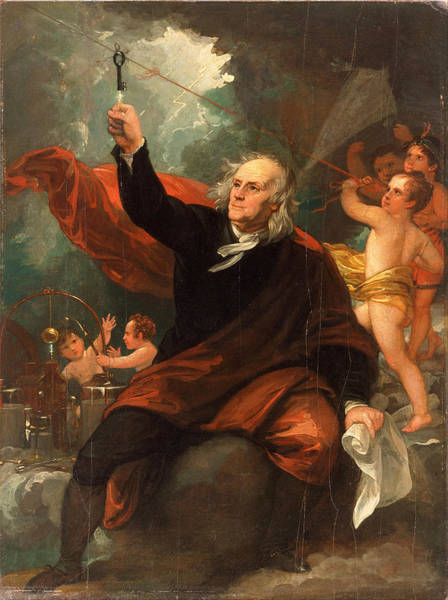 Experiment Painting - Benjamin Franklin Drawing Electricity From The Sky by Benjamin West