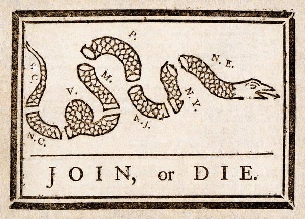 Painting - Benjamin Franklin's Join Or Die Cartoon by Benjamin Franklin