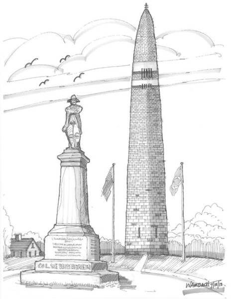 Drawing - Bennington Battle Monuments by Richard Wambach