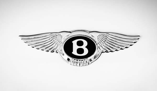 Photograph - Bentley Emblem -0082bw by Jill Reger
