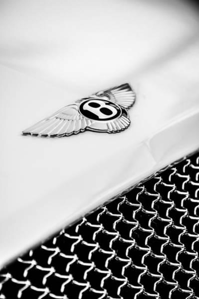 Photograph - Bentley Emblem -1161bw by Jill Reger