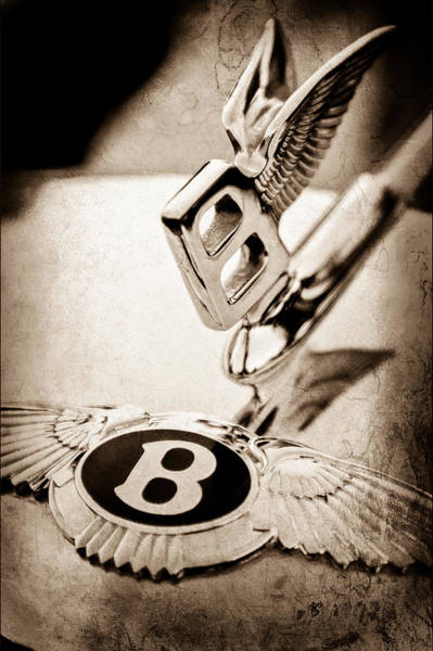 Vintage Hood Ornaments Photograph - Bentley Hood Ornament - Emblem by Jill Reger