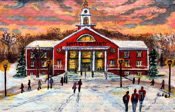 College Campus Painting - Bentley Under The Winter Clouds by Rita Brown