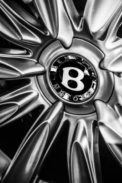 Photograph - Bentley Wheel Emblem -0303bw by Jill Reger