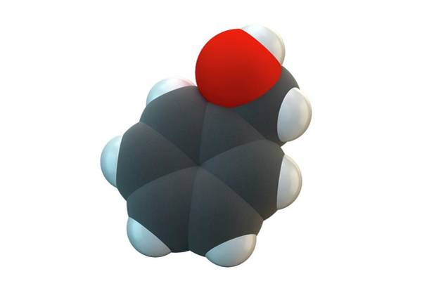 Alcohol Ink Photograph - Benzyl Alcohol Solvent Molecule by Ella Maru Studio / Science Photo Library
