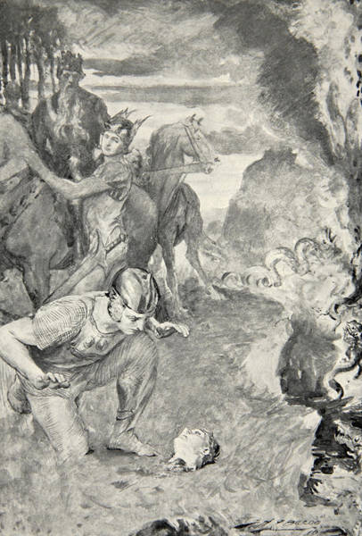 Folklore Drawing - Beowulf Finds The Head Of Aschere by John Henry Frederick Bacon