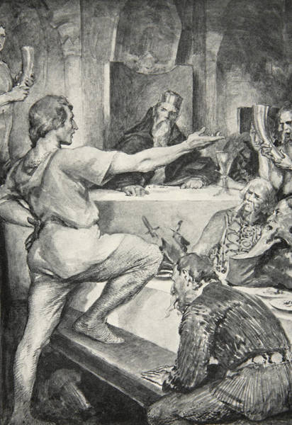 Print Drawing - Beowulf Replies Haughtily To Hunferth by John Henry Frederick Bacon
