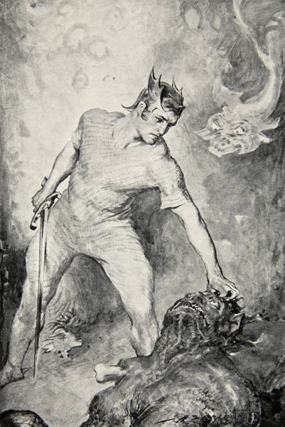 Folklore Drawing - Beowulf Shears Off The Head Of Grendel by John Henry Frederick Bacon