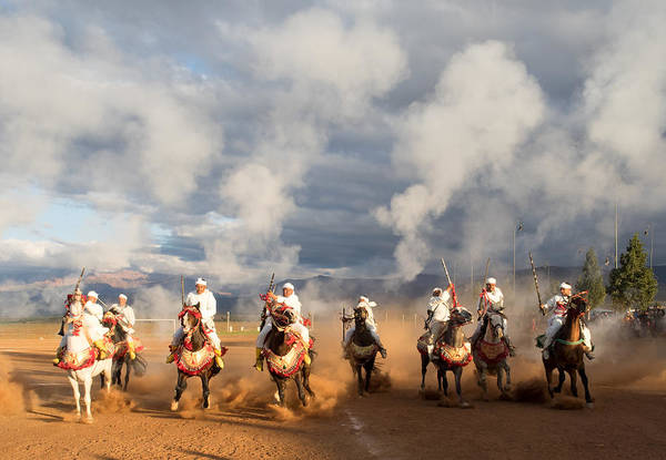 Berber Wall Art - Photograph - Berber Horseman Firing Rifles by Panoramic Images