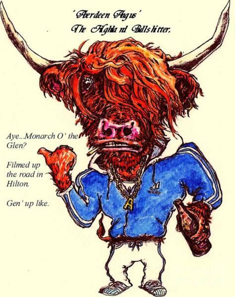 Drunk Mixed Media - berdeen Angus by Ian Glover