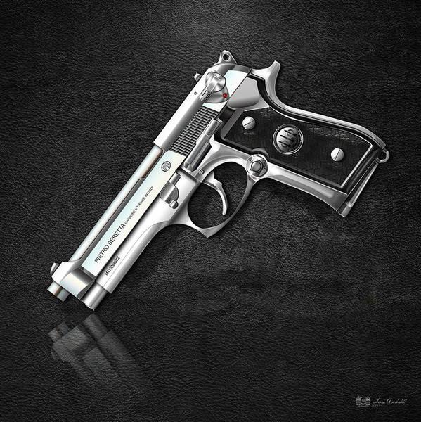 Digital Art - Beretta 92fs Inox Over Black Leather by Serge Averbukh
