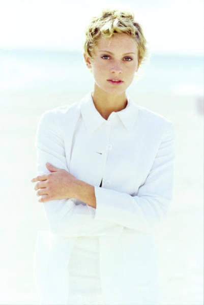 Short Cut Photograph - Beri Smither Wearing A White Jacket by Arthur Elgort
