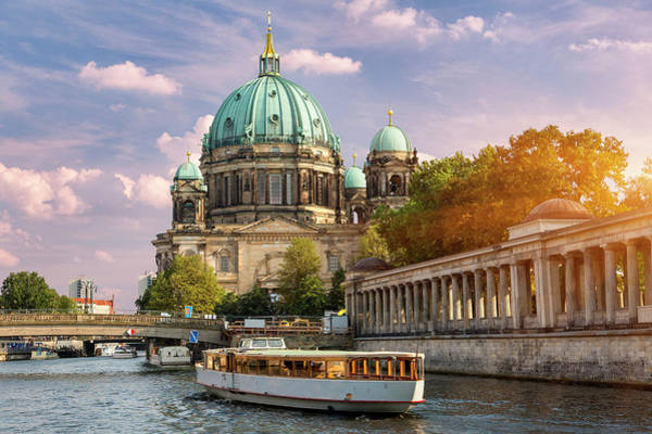 Berlin Cathedral Photograph - Berlin, A Tour Boat On The Spree River by Sylvain Sonnet