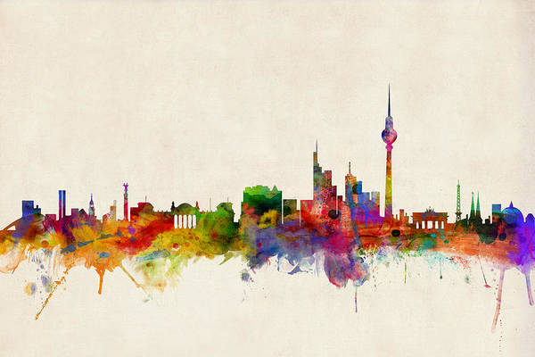 Germany Wall Art - Digital Art - Berlin City Skyline by Michael Tompsett
