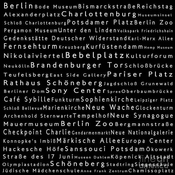 Fernsehturm Photograph - Berlin In Words Black by Sabine Jacobs