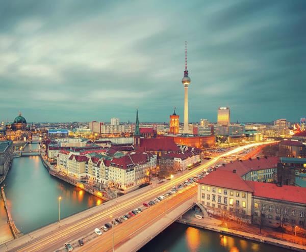 Berlin Skyline With Traffic Art Print by Matthias Makarinus