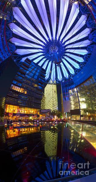Sony Center Photograph - Berlin Sony Center Potsdamer Platz Upwards Night Panorama by Bart De Rijk