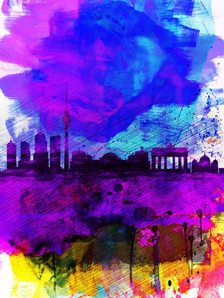Wall Art - Painting - Berlin Watercolor Skyline by Naxart Studio