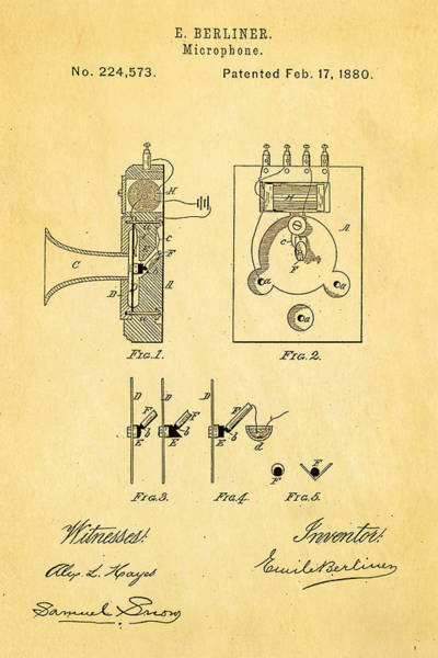 Inventor Photograph - Berliner Microphone Patent Art 1880 by Ian Monk