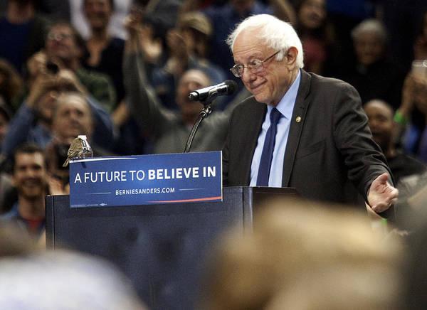 Bernie Sanders Holds Campaign Rally In Portland, Oregon Art Print by Natalie Behring